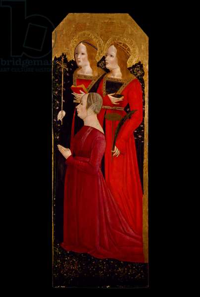 Saints Margaret and Catherine of Alexandria with a Donatrix, c.1485 (tempera and gold leaf on wood)