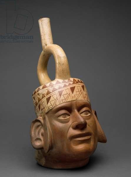 Portrait Head Vessel, Moche IV, 400-600 (earthenware with bichrome slip painting)