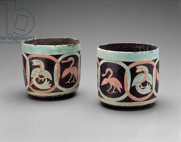 Bowls with Birds in Cartouches, Guatemala, Middle Classic, 500-700 (earthenware with painted stucco)