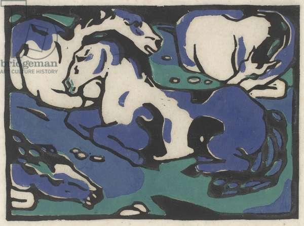 Ruhende Pferde (Resting Horses), 1911-1912, printed 1916 (woodcut in in black, blue, and green on japan paper)