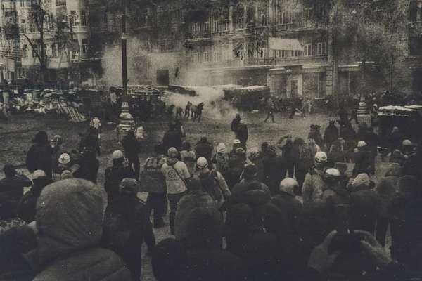 Euromaidan, Grushevskogo Street and behind, January 21-22, 2014 (gelatin silver print)