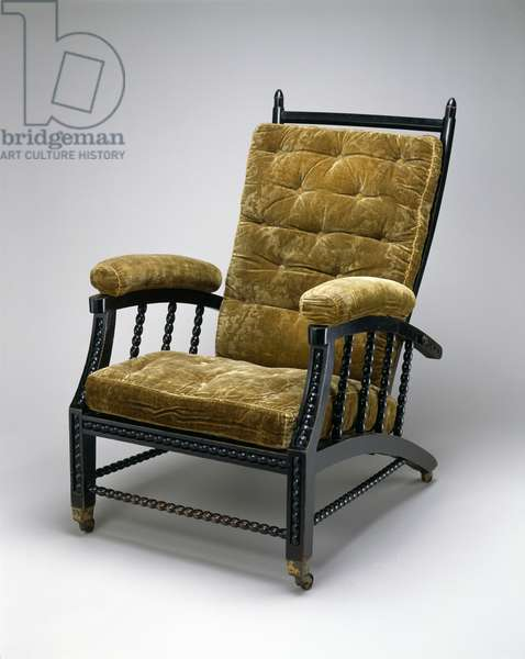 Adjustable Back Chair, c.1870 (ebonized wood, embossed velvet & metal)