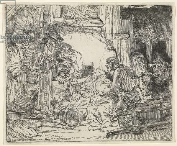 Adoration of the Shepherds, with Lamp, 1654 (etching)