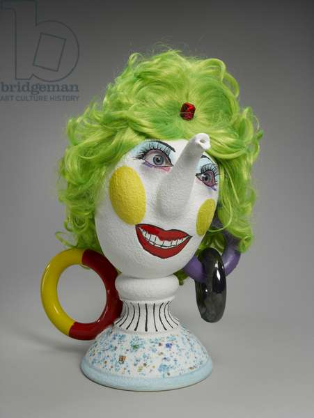 Painted Lady, 2000 (earthenware, synthetic lashes & wig with plastic jewel)