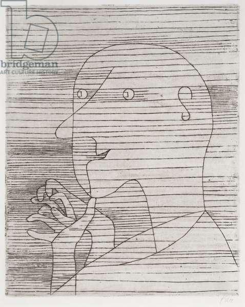 Rechnender Greis, 1929 (etching)