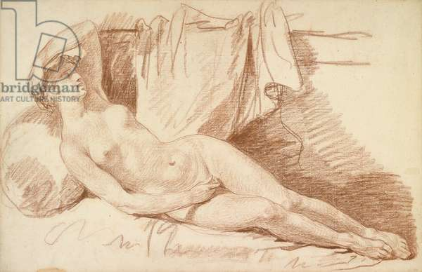 Reclining Female Nude: Study for 'Aegina visited by Jupiter', c.1767 (red chalk on laid paper)