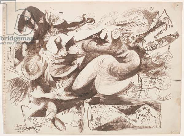 Untitled (O'Connor-Thaw 770) c.1946-47 (brown Indian ink on paper)