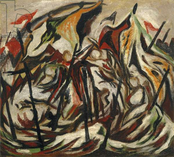 Composition with Figures and Banners, c.1934-38 (oil on canvas)