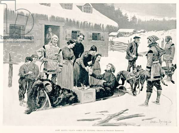 How Santa Claus Comes in Canada, 1894 (wood engraving on newsprint)