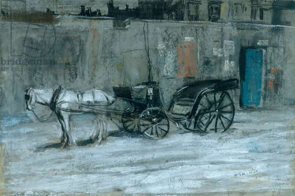Paris, Horse and Carriage, c.1900-05 (charcoal, chalk and pastel on cardboard)