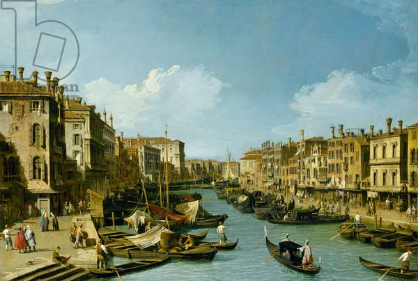 The Grand Canal near the Rialto Bridge, Venice, c.1730 (oil on canvas)