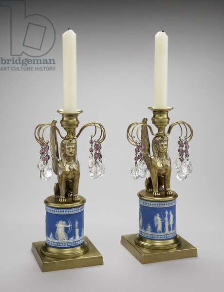 Pair of Lusters, c. 1800-1815 (stoneware, gilded brass, and lead glass)