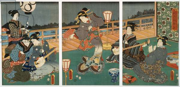 Courtesans Entertaining, triptych, mid 19th century (woodblock on mulberry paper)