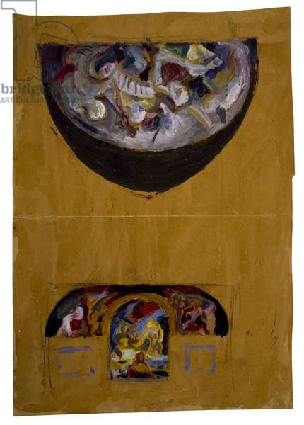 Untitled (Mural studies for Greenwich House) c.1930-33 (oil on heavy brown wrapping paper)