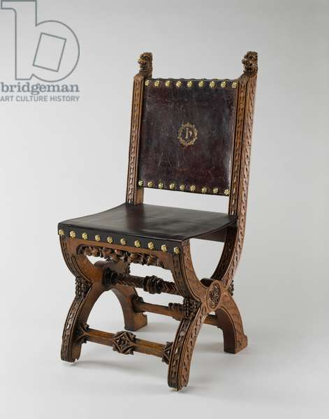 X-Frame Chair, made by John Webb, c.1847 (oak, leather and brass)
