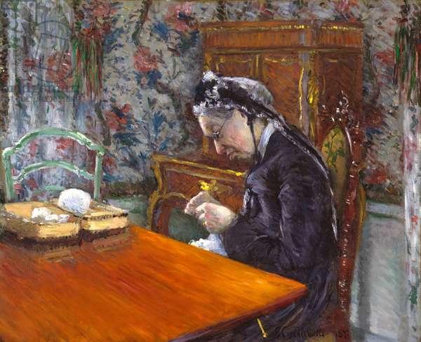 Mademoiselle Boissiere Knitting, 1877 (oil on canvas)
