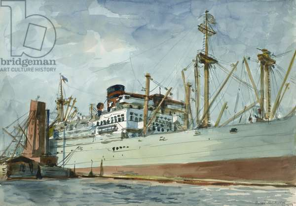 Steam Freighter and Tug, 1936 (watercolour on paper)