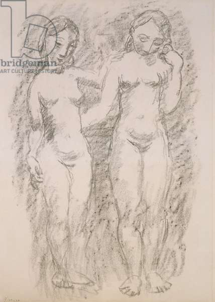 Two Nudes, 1906 (charcoal on paper)