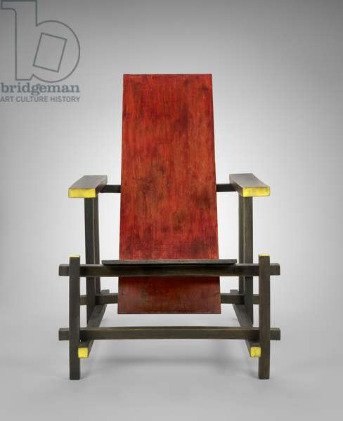 Red/Blue Chair, c. 1920 (beech wood with paint)