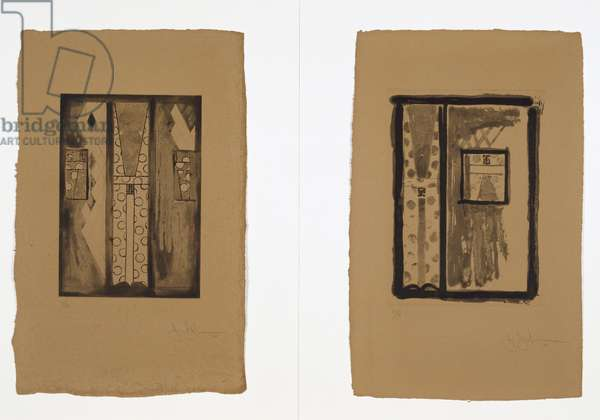 Untitled, 2005 (diptych, drypoint, sugar-lift and spit-bite aquatint on Fred Siegenthaler handmade leather paper, edition 13/15)