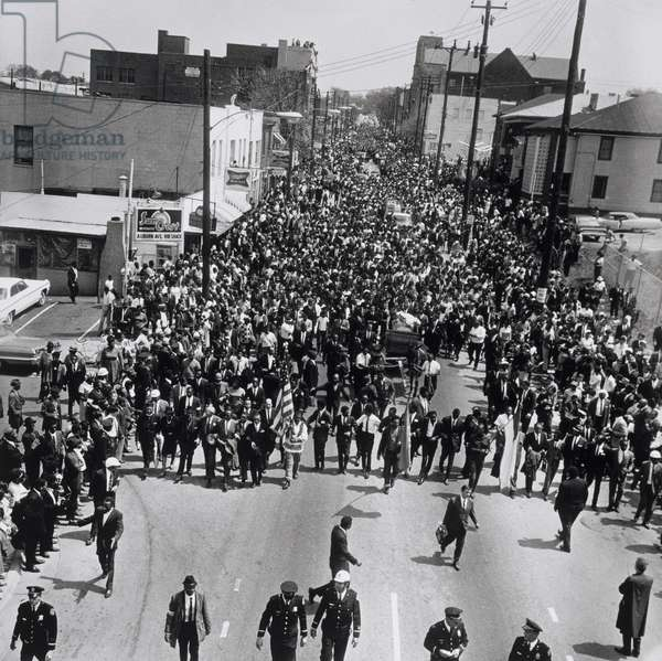 Martin Luther King Funeral Procession. Funeral procession for Dr. Martin Luthrs King on Auburn Ave. after leaving King's church. Atlanta, Georgia., April 12, 1968, printed 1994 (gelatin silver print)