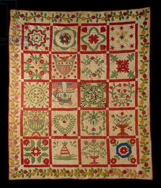 Applique Album Quilt, L & M, 1860 (cotton)