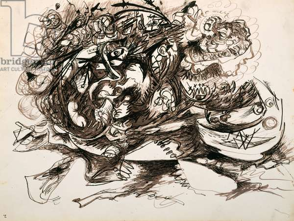 Untitled (O'Connor-Thaw 771) c.1946-47 (brown ink and Indian ink on paper)