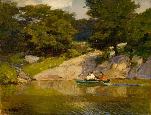 Boating in Central Park, c.1900-05 (oil on board)