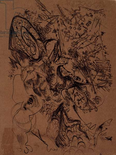Untitled (O'Connor-Thaw 778) from a suite of notebook drawings, c.1946-47 (brown ink & India ink on brown cardboard)