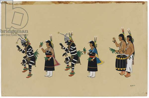 Ceremonial Dance, 1920-30 (tempera & ink on buff wove paper)