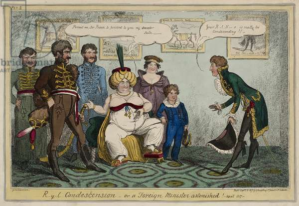 Royal Condescension or, A Foreign Minister Astonished! - April 1817 -, September 15, 1817 (hand-coloured etching on wove paper)