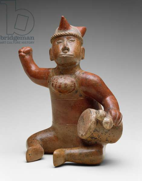 Seated Musician, Mexico, 100 BC-AD 300 (earthenware with bichrome slip painting)