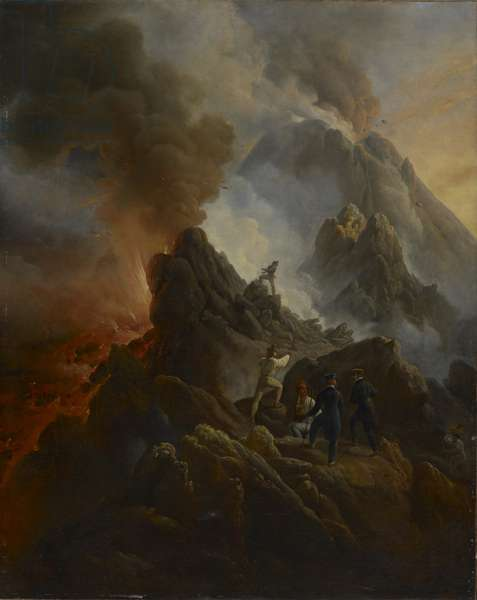 The Vesuvius Erupting, the Artist and His Father, Carle Vernet, in the Foreground., c. 1822 (oil on canvas)