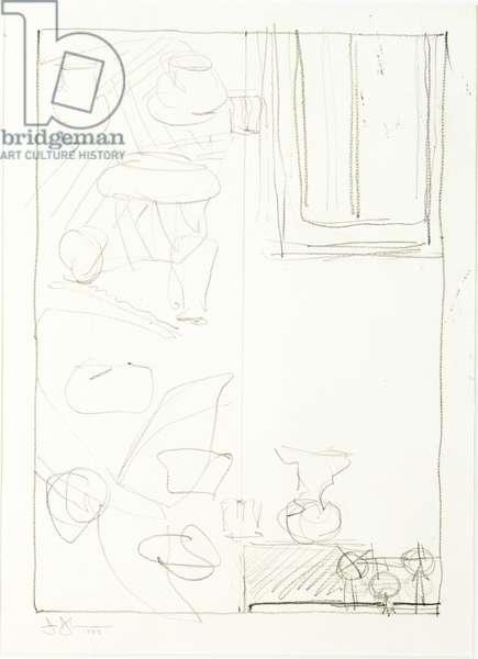 Study for Ventriloquist, 1983 (graphite on paper)