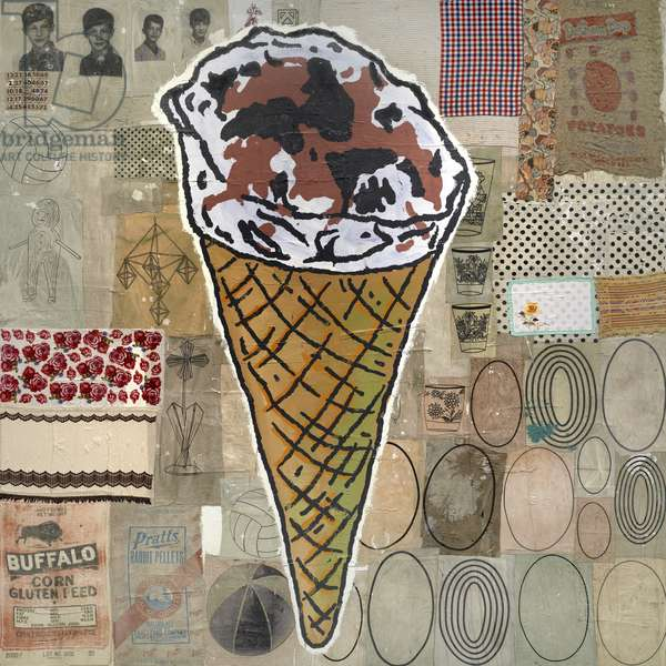 Hundred Pound Ice Cream Cone, 1998 (acrylic, silkscreen ink, and fabric collage on canvas)