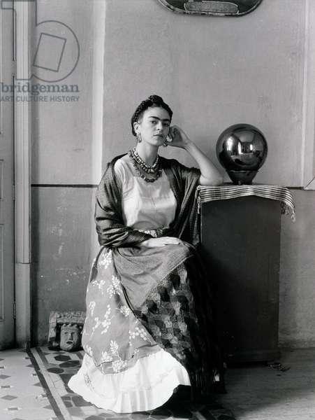 Frida Kahlo (1907-54) in Manuel Alvarez Bravo's Studio, 1930's (gelatin silver photograph)