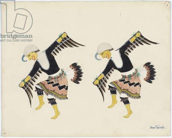 Cattail Bird Dancers, 1921-25 (tempera over pencil on paper board)