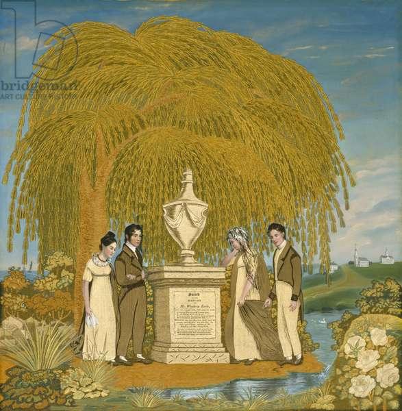 Memorial Embroidered Picture, c. 1815-1820 (silk taffeta, silk and silk chenille threads, and watercolours)
