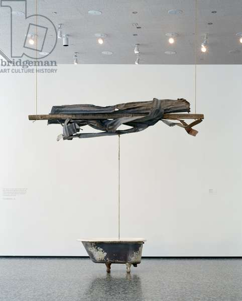 Sor Aqua (Venetian), 1973 (wood, metal, rope, glass jug & water-filled bathtub)