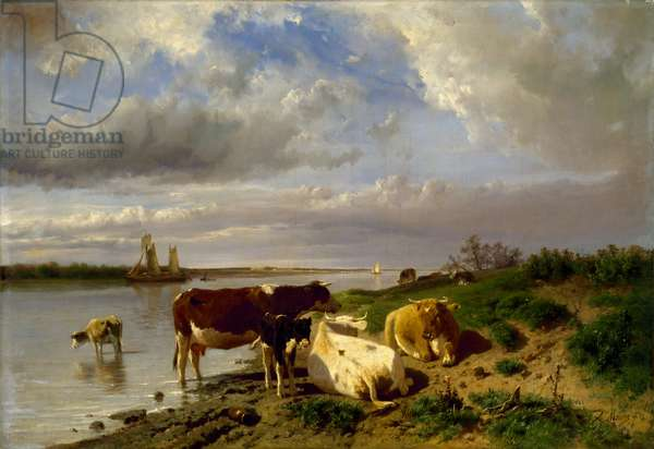 Landscape with Cattle, (oil on canvas)