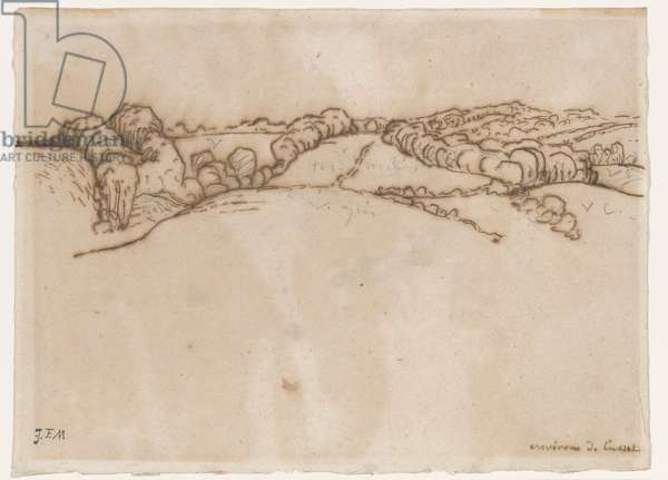 Environs de Cusset, c.1866-69 (pen & brown ink with graphite on laid paper)