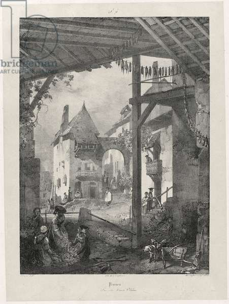 Pesmes, 1825 (lithograph on chine collé)