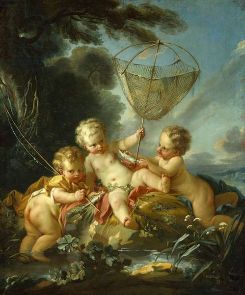 Putti as Fisherman, c.1744 (oil on canvas)