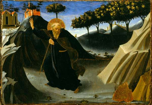 St. Anthony Abbot Shunning the Mass of Gold, 1430s (tempera and gold leaf on panel)