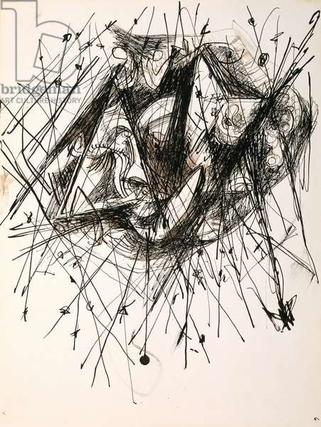 Untitled (O'Connor-Thaw 775) from a suite of notebook drawings, c.1946-47 (India ink with touches of brown & grey ink on paper)