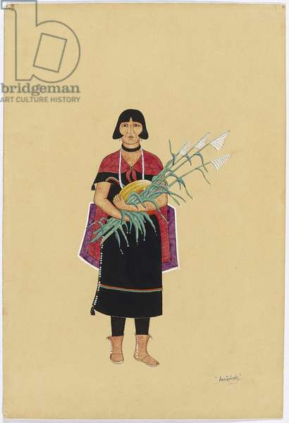 Woman Holding a Melon and Corn Stalks, 1920-30 (tempera & ink on wove paper)
