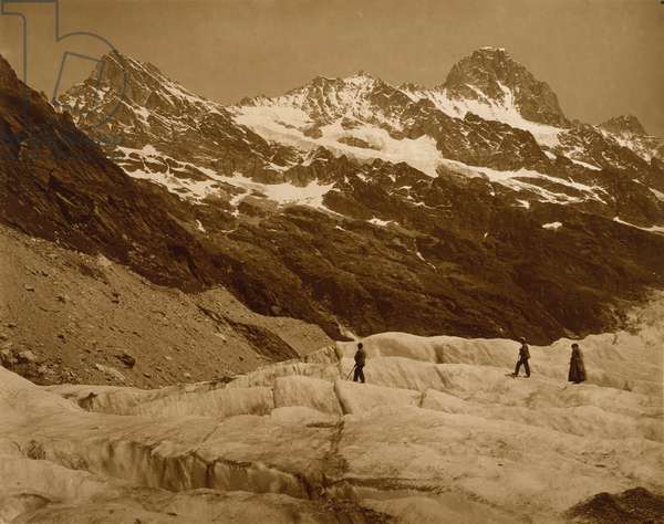 Alpine Landscape, Three Hikers on a Glacier, 1860s (carbon print)
