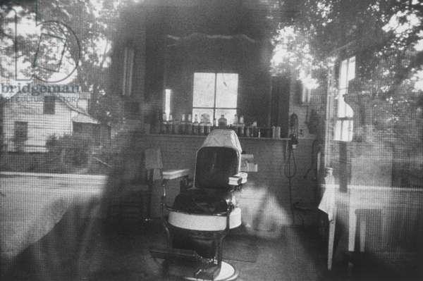 Barbershop through Screen Door, McClellanville, South Carolina, 1955 (gelatin silver print)