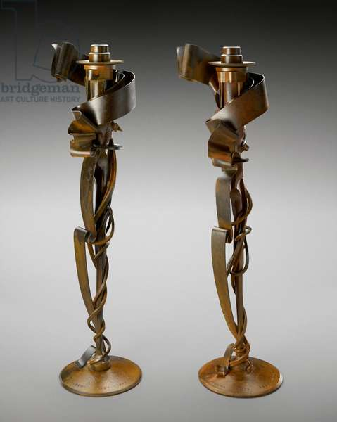 Pair of Millennium Candleholders, 1998 (steel and brass)