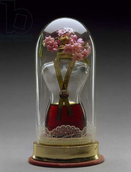 Shocking, c. 1936, perfume introduced 1936 (glass, velvet, plastic, and paper)